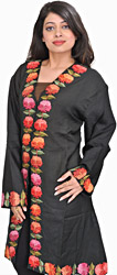 Jet-Black Jacket from Kashmir with Hand-Embroidered Flowers on Border