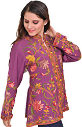 Argyle-Purple Jacket from Kashmir with Ari-Embroidery by Hand