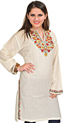 Ivory Phiran from Kashmir with Ari Hand-Embroidery on Neck