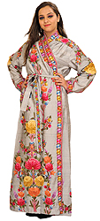 Silver Robe from Kashmir with Ari Hand-Embroidered Flowers