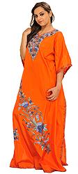 Firecracker-Orange Ari Embroidered Kaftan from Kashmir