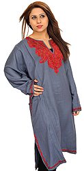Gray Phiran from Kashmir with Ari Hand-Embroidered Paisleys on Neck