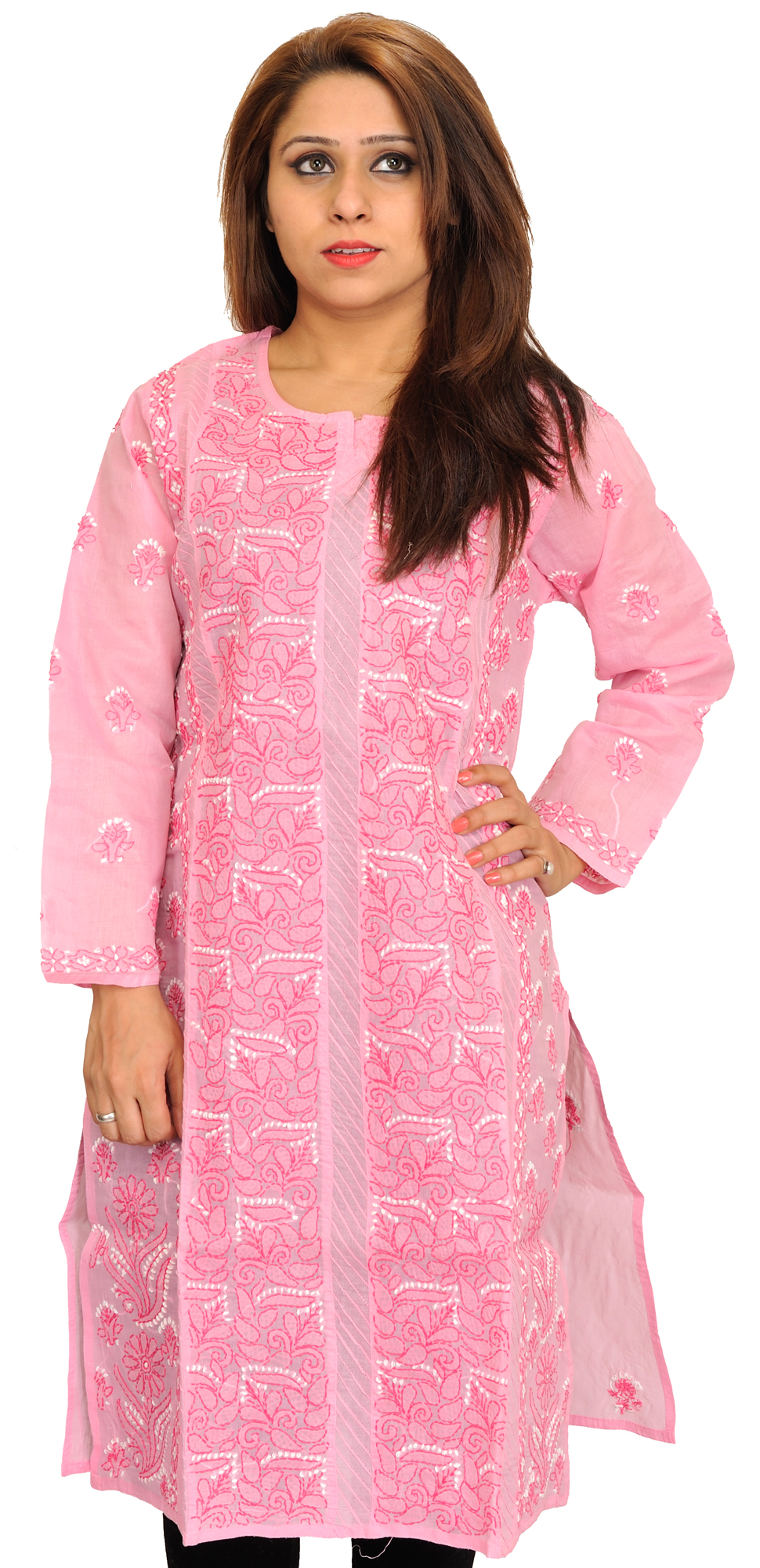 Prism pink chikan hand embroidered kurti from lucknow