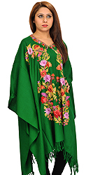Fairway-Green Cape from Kashmir with Floral Ari-Embroidery by Hand