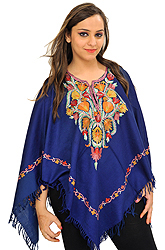 Estate-Blue Poncho from Kashmir with Ari Hand-Embroidery on Neck
