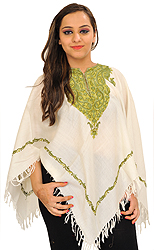 Ivory Poncho from Kashmir with Ari Hand-Embroidered Paisleys on Neck