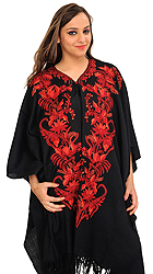 Caviar-Black Cape from Kashmir with Ari-Embroidered Flowers by Hand