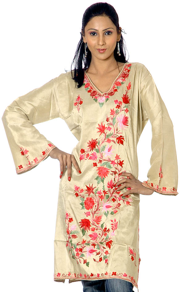 TeaGreen Kashmiri Kurti With Floral Embroidery