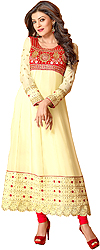 Transparent-Yellow Long Choodidaar Suit with Floral Thread Embroidery on Neck and Border