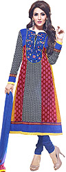 Tri-Color Choodidaar Suit with Embroidered Patch on Neck