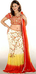 Tri-Color Lehenga Choli with All-Over Beadwork and Sequins