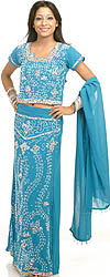 Turquoise Blue Lehenga Choli with Beadwork and Sequins