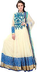 Vanilla-Custard Bridal Flared Anarkali Suit with Ari Embroidery in Blue Thread