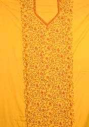 Yellow Handwoven Suit with Needle-Embroidery from Kashmir