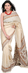 Angora Kantha Sari from Bengal with Hand-Embroidered Musical Instruments