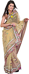 Beige and Purple Wedding Sari with Embroidered Sequins and Booties