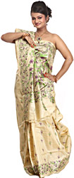 Beige Sari with Kantha stitched Embroidered Birds and Flowers