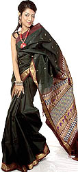 Black Kanjivaram Sari with Woven Paisleys on Anchal