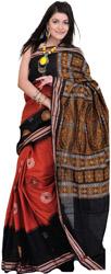 Black-Red Bomkai Sari from Orissa with Hand Woven Chakras