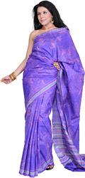 Blue-Iris Printed Sari from Kolkata