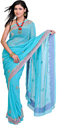 Blue-Lagoon Wedding Sari with Embroidered Stones and Crystal