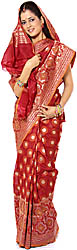 Burgundy Jamdani Sari from Banaras with Woven Circles