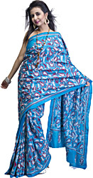 Capri Breeze-Blue Sari with Kantha Stitched Embroidered Flowers All-Over