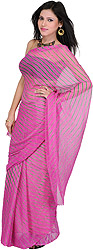 Carmine-Rose Printed Leheria Sari from Rajasthan