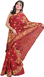 Chilli Pepper-Red Sari from Bengal with Kantha Stitched Embroidered Flowers All-Over