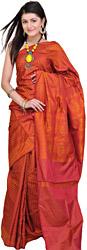 Chinese-Red Banarasi Satin Sari with Hand Woven Booties