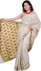 Cloud-Cream Banarasi Sari with Woven Bootis and Flowers