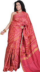 Deep-Claret Gujarati Paan Patola Sari from Patan with Ikat Weave