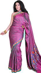 Festival Fuchsia Banarasi Sari with Floral Ari Embroidery