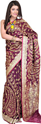 Grape-Violet Wedding Sari with Hand-Embroidered Beads