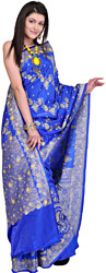 Imperial-Blue Wedding Sari from Banaras with Embroidered Sequins and Beads