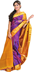Imperial-Purple Kanjivaram Sari with Woven Peacocks in Golden Thread