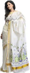 Ivory Kasavu Cotton Sari from Kerala with Embroidered Little Krishna on Border