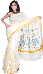 Ivory Kasavu Cotton Sari from Kerala with Embroidered Little Krishna