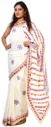 Ivory Sari From Lucknow with Hand Embroidered Chikan Embroidery All-Over
