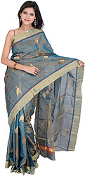 Ivy-Green Tissue Chanderi Sari with Hand-woven Pigeons All-Over
