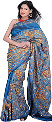 Legion-Blue Kantha Sari from Bengal with Hand-Embroidered Little Krishna