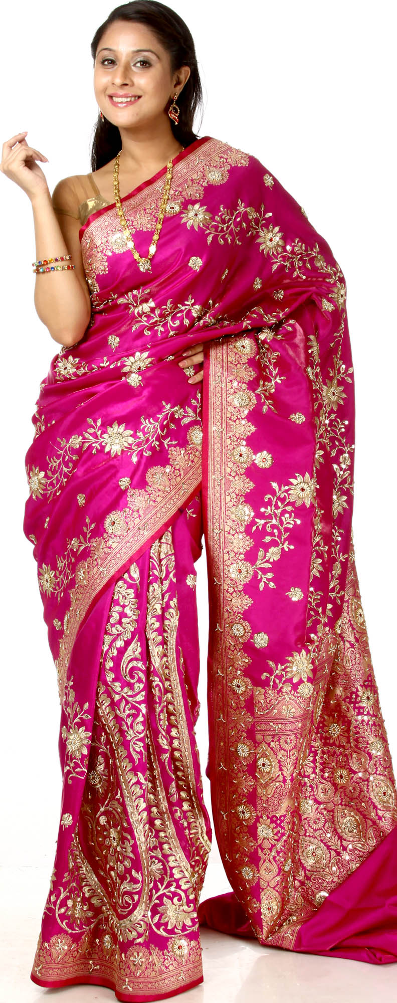 Magenta banarasi satin sari with woven paisleys and