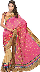 Magenta-Haze Sari with Patch Border and Embroidered Bootis