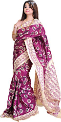 Magenta-Purple Ikat Sari from Pochampally with Hand-Woven Leaves