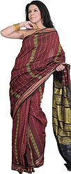 Maroon Bomkai Sari from Orissa with Rudraksha Border and Woven Bootis