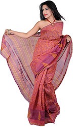 Mauve Chanderi Sari with Printed Flowers All-Over