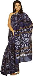 Mazarine-Blue Tie-Dye Bandhani Sari from Gujrat
