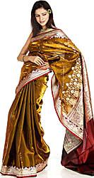 Metallic-Khaki Banarasi Sari with Golden Bootis and Brocaded Anchal