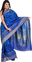 Ocean-Blue Banarasi Sari with Handwoven Booties All Over