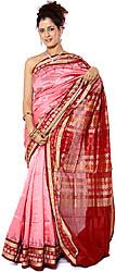 Pink Sambhalpuri Sari with Ikat Weave on Anchal and Border